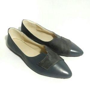 Vintage Slip On Blue Leather Pointed Toe Flats